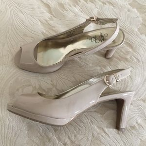 Life Stride Patent Open Toe Sling Heels Taupe 8